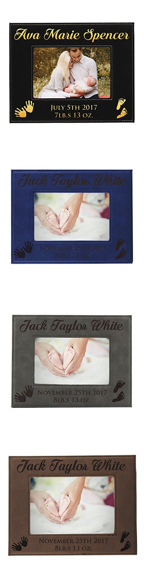 Personalized New Baby Photo Frame - Custom Engraved Boy Girl Leather Picture Frame Gift - Monogrammed for Free (5 x 7)