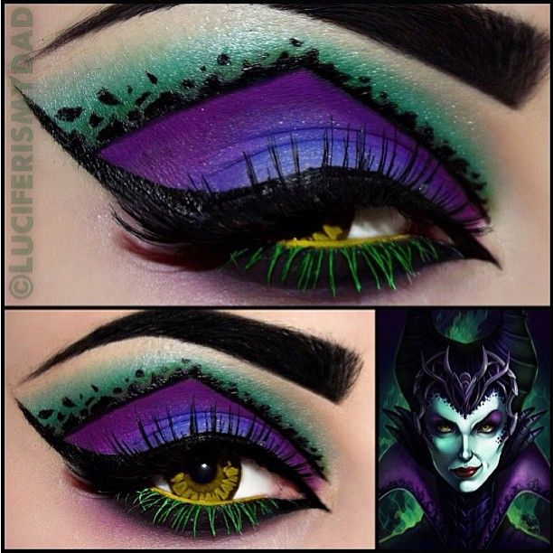 Freaking incredible #Maleficent inspired look by the ridiculously talented Luciferismydad! She used #Sugarpill Poison Plum and Bulletproof, with some #Coastalscents eyeshadows.