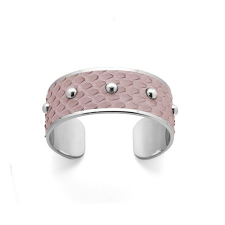 Silver Athena Cuff Bracelet in Nude Nubuck Python