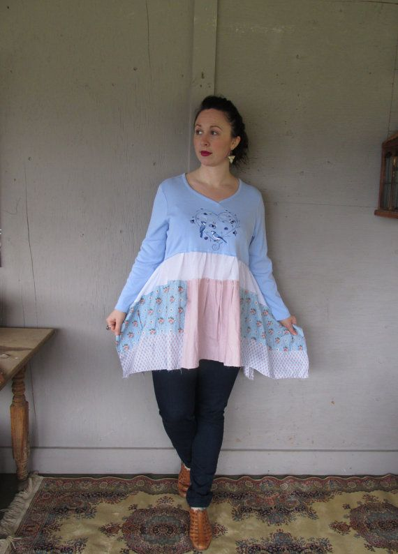 upcycled tunic dress Mori girl clothing blue by lillienoradrygoods