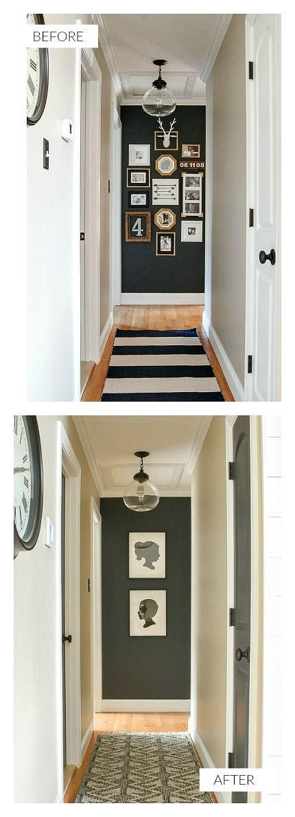 A small narrow hallway gets a sleek modern makeover with lots of contrast and texture. #hallway #moderndecor #modernfarmhouse #smallspaces #highcontrast #decor