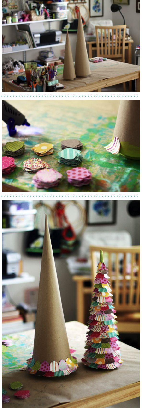 How to make a scrapbook paper Christmas tree.  I think using little fabric swatches would be cute, too, trimmed with pinking shears to stop fraying.