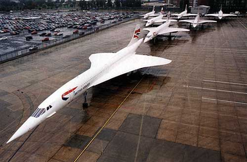 Seven Concorde Aircraft on display. (Rare photo)