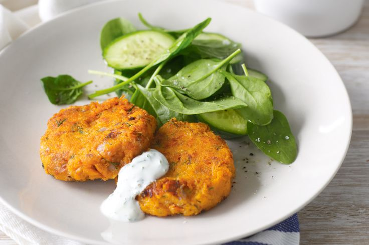 **Roast sweet potatoes, leave out onion, add yoghurt/sour cream to pattie mix