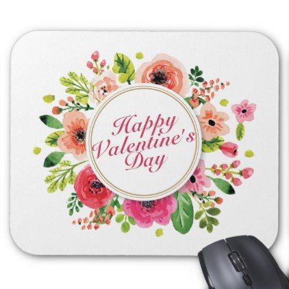 #Elegant Valentine's Day Floral Frame Mousepad - #office #gifts #giftideas #business