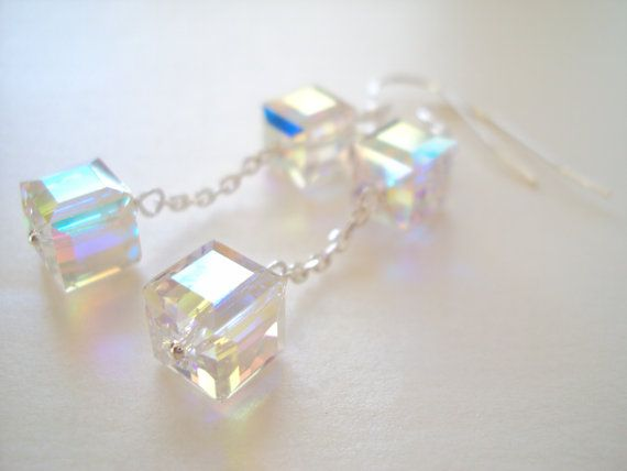 Swarovski Crystal Cube dangly earrings in sterling silver (925)