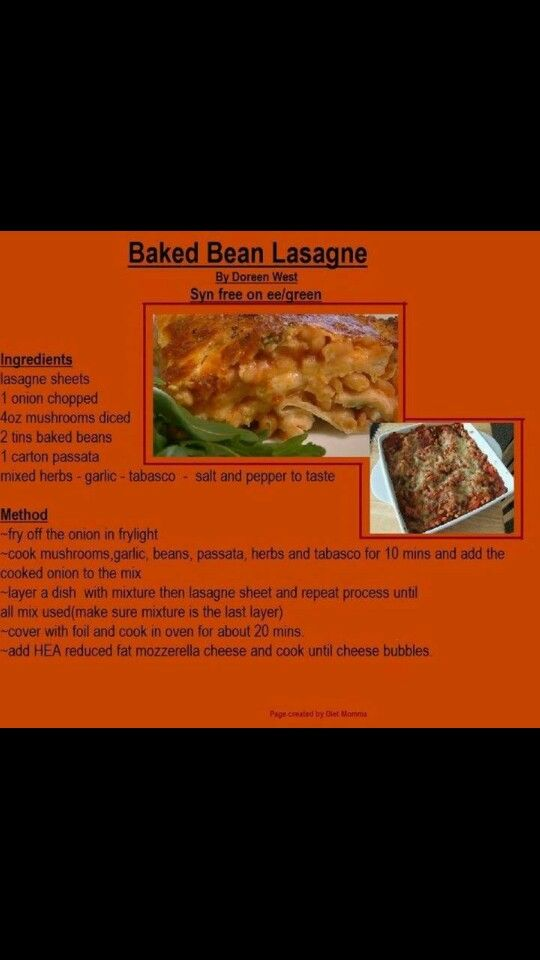 Baked Bean Lasagne! I use my quark/egg topping instead to get a really cheesy top!