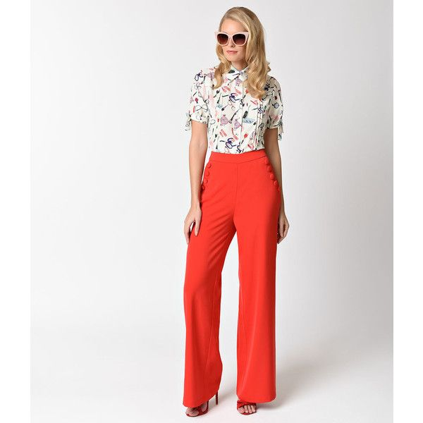 Voodoo Vixen 1950s Style Red High Waist Wide Leg Teddy Pants ($48) ❤ liked on Polyvore featuring pants, red, faux-leather pants, white high waisted trousers, red pants, high waisted trousers and high-waisted pants
