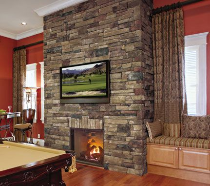 Cultured stone chardonnay country ledgestone man cave game room den floor to ceiling fireplace project view