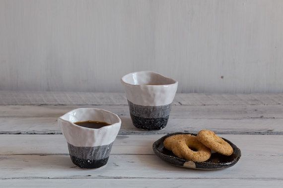 Set of two espresso wabi sabi black white ceramic handmade cup, japanese style pottery, rustic tea set, rough, raku, minimalist cup, gift