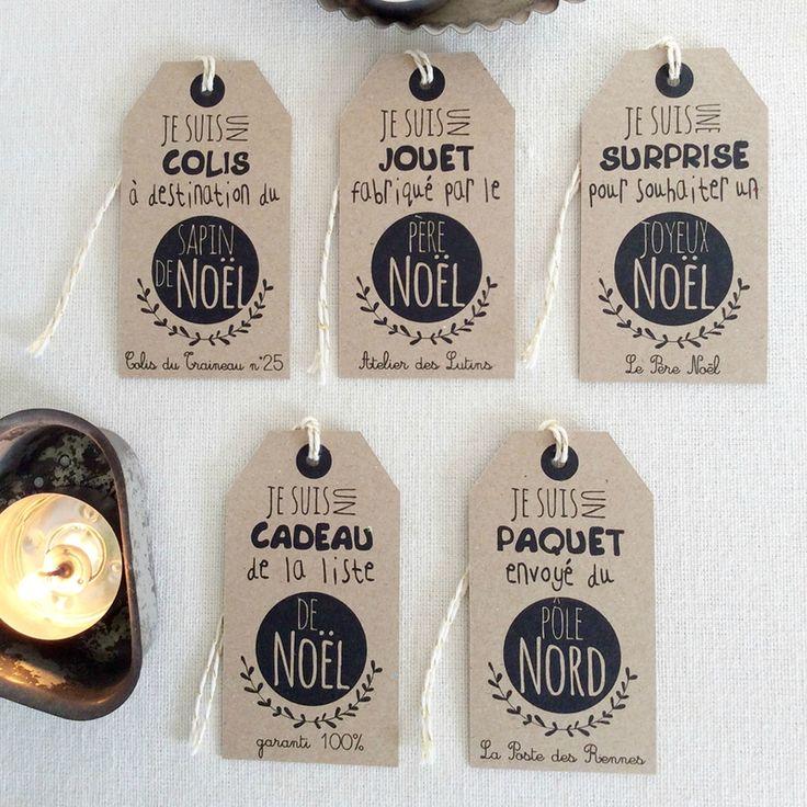 Créations d'étiquettes Noël enchanté en vente sur mon blog : http://poussieresdereve.canalblog.com/pages/etiquettes-kraft-noel/32900650.html