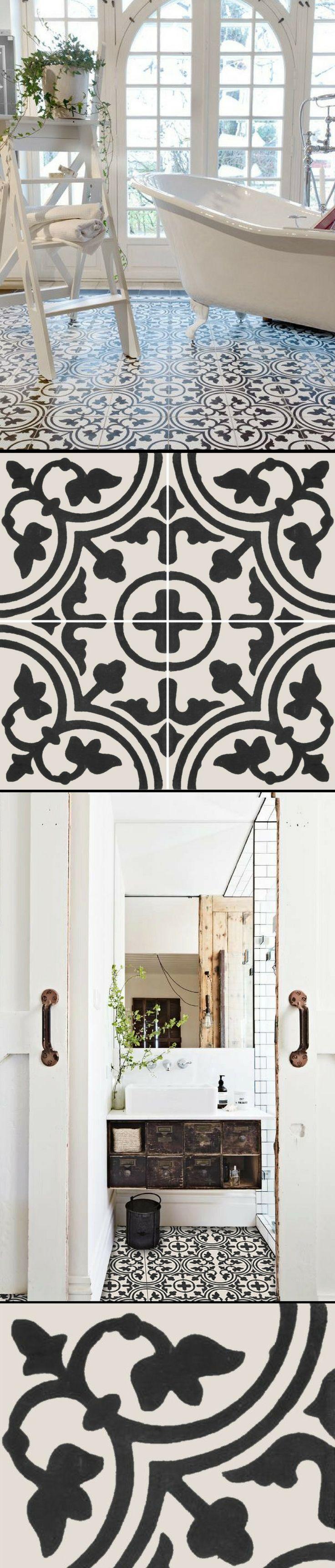 Carrelage adhésif imitation carreaux de ciment pour relooker le sol d'une salle de bain