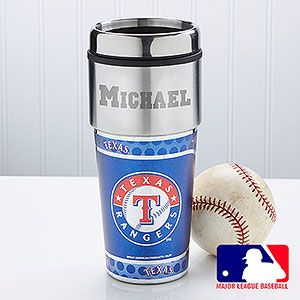 MLB Rangers Personalized Travel Mug - Clearance - Clearance