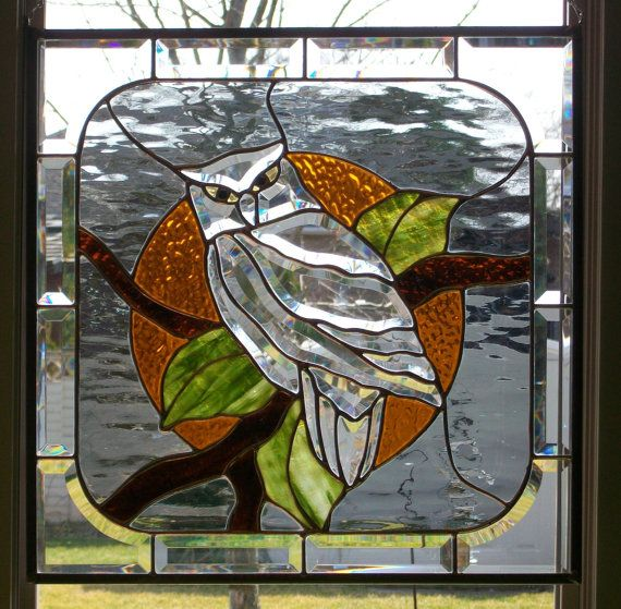 Owl in the Moonlight  Stained Glass Panel by sunfirestainedglass, $275.00