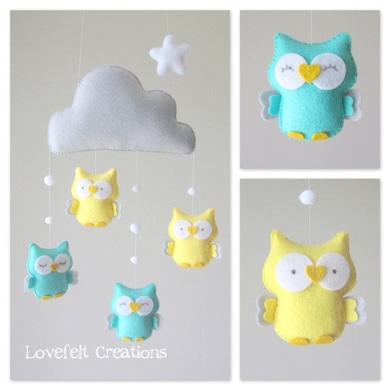 READY TO SHIP - baby mobile - owl mobile - cloud mobile - mint and yellow on Etsy, 127,78 $ CAD