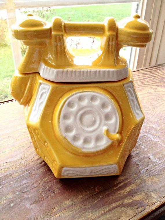 Vintage Cookie Jar telephone cookie jar yellow by poorbabyvintage