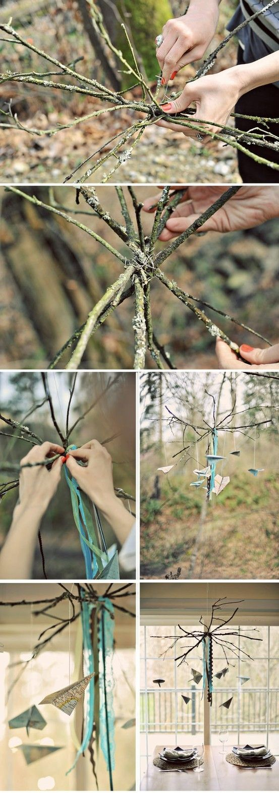 DIY Branch and Crystal Centerpieces | Tags: 20 minutes , branch , mobile , tree