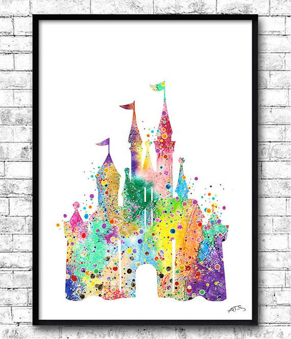 Disney Castle Watercolor Print, Disney painting,Disney art, Disney Castle print, Nursery art, Giclee wall print, Children's birthday gift