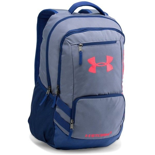 Under Armour® Hustle Backpack ($55) ❤ liked on Polyvore featuring bags, backpacks, polyester backpack, water resistant backpack, blue backpack, padded laptop backpack and under armour bag