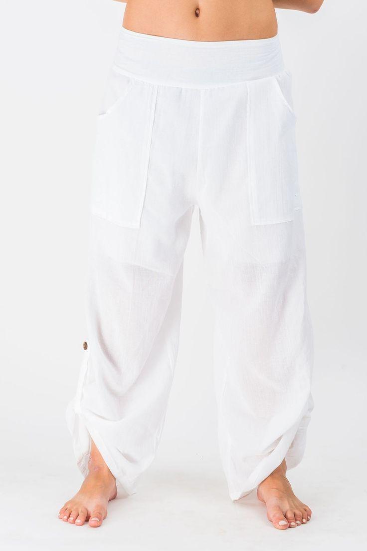 Women's Thai Button Up Cotton Pants in Solid White – Harem Pants