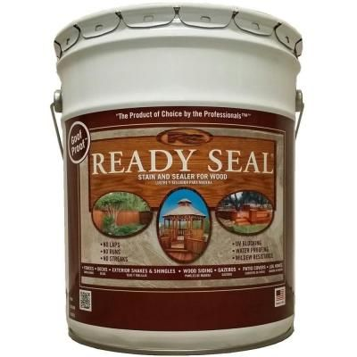 READY SEAL 5 gal. Dark Walnut Exterior Wood Stain and Sealer-525 - The Home Depot