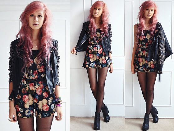 Missguided Studded Jacket, Ark Clothing Velvet Floral Playsuit, Ark Clothing Heeled Chelsea Boots