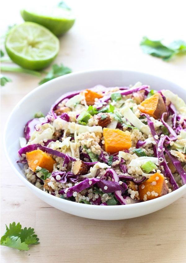 Crunchy Quinoa Power Bowl with Almond Ginger Dressing- perfect to prep for clean eating lunches! {vegan + gluten-free}