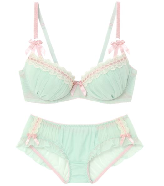 Mint green and pretty pink lingerie set - designer unknown.