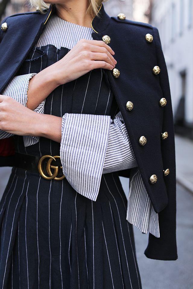 Atlantic-Pacific // Pinstripe Jumpsuit, Gucci Logo Belt, & Burberry Jacket
