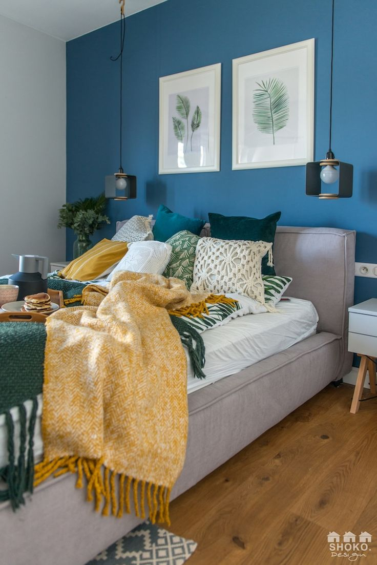 Blue, yellow and green modern bedroom