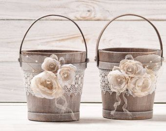Flower Girl Baskets Two Ivory Flower Girl Baskets Rustic Wedding Buckets Lace and Roses Flower Girl Basket Set