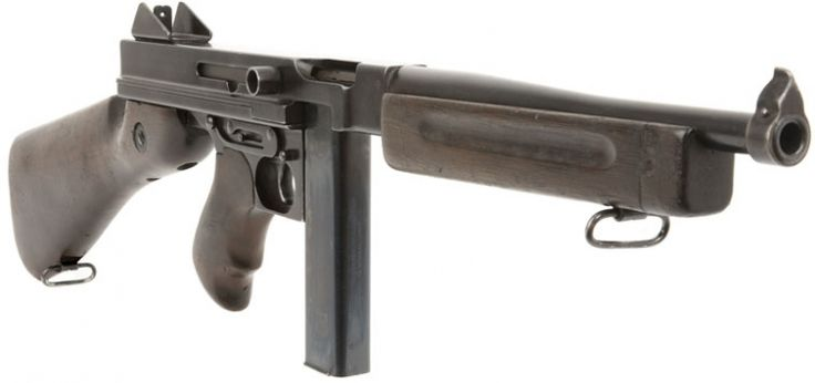 Classic Thompson submachine gun aka Tommy Gun;  my father had one once back in the day, rate of fire was awsome.
