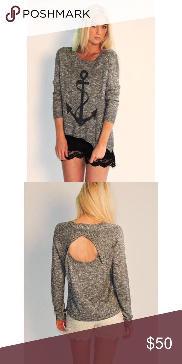 Anchor Hi-Low Sweater Anchor Sweater. Long Sleeve. Open Back. Perfect to cuddle by the fire in. Mia Bella Boutique Sweaters Crew & Scoop Necks