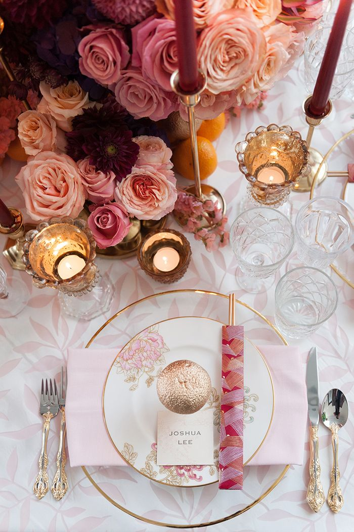 Colorful Romantic Place Setting With Modern Asian Elements  https://heyweddinglady.com/luxe-asian-wedding-inspiration-lunar-new-year/    #wedding #weddings #weddingideas #engaged #eventdesign #asianweddings #chineseweddings #weddinginspiration #weddingreception #reception #luxewedding #dreamwedding #pinkweddings #pink