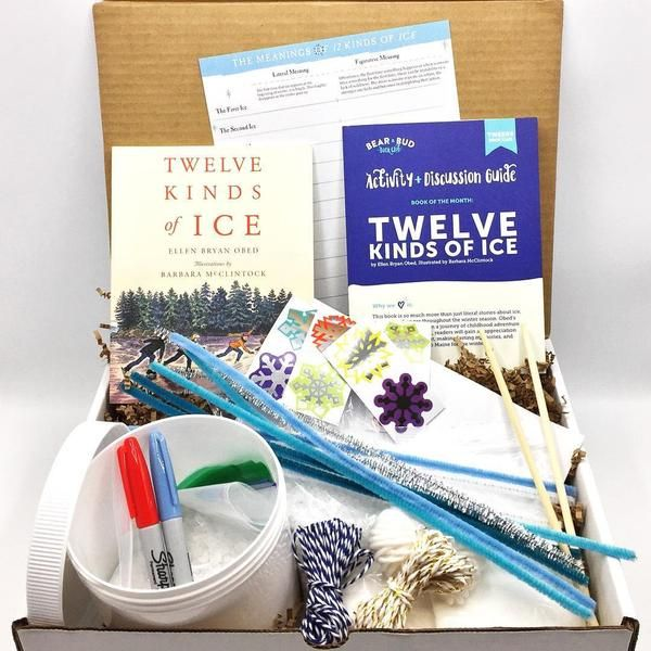 "Twelve Kinds of Ice by Ellen Bryan Obed, Illustrated by Barbara McClintock ***Can't Wait!"" Craft Kit: Crystal Snowflake and Icicle Hanging ***After Reading"" Craft Kit: The Perfect Ice Cream MakerActivity Guide ***Activity Guide with instructions, discussion starters, and snack recipe for Dreamy Vanilla Ice Cream!"
