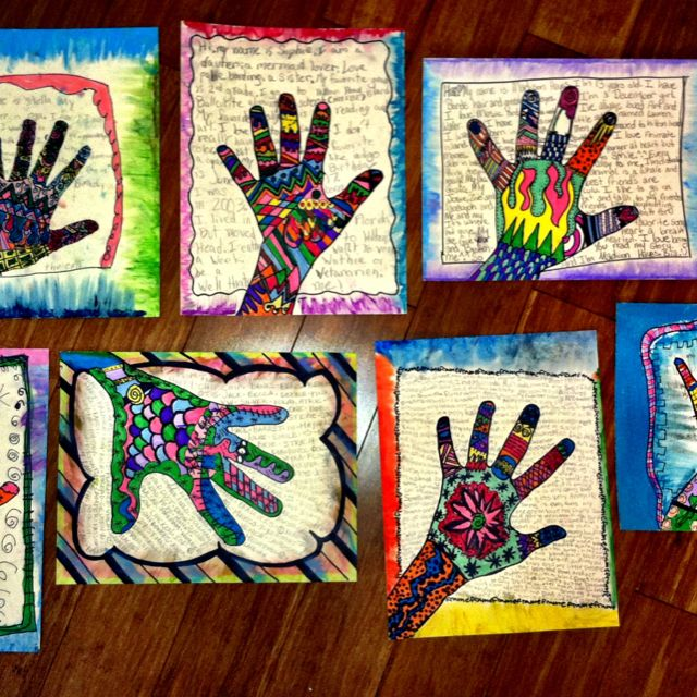 Self portrait hand prints - dewestudio lesson Have the students write about their year. What did they think 6th grade was going to be like, what was it really like? How have they grown? What new things about themselves did they learn? Fill the hands with patterns and the background with their writing.