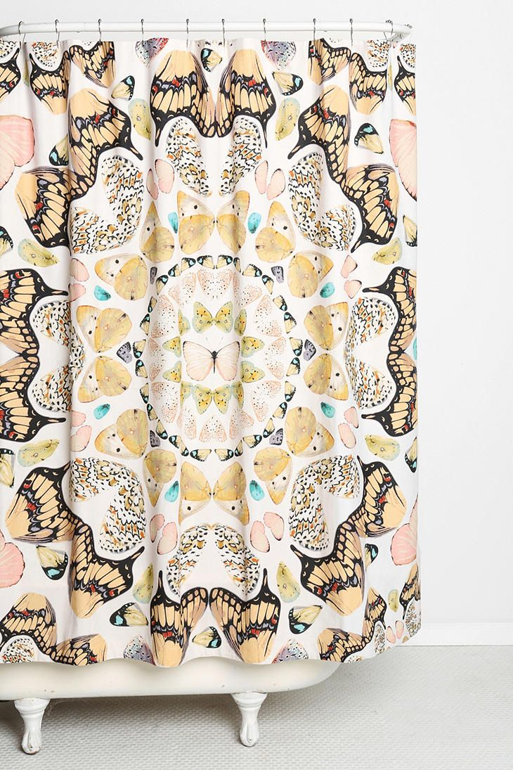 Plum & Bow Butterfly Shower Curtain Urban Outfitters $65
