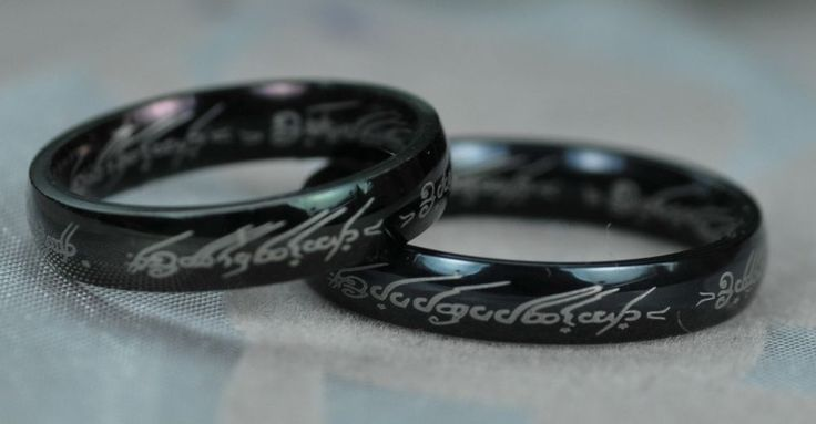 The Black Titanium Lord of the Rings Ring 4mm wide
