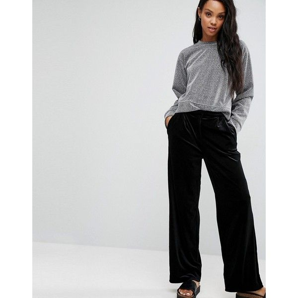 Pieces Hazel Wide Leg Pants (36 AUD) ❤ liked on Polyvore featuring pants, black, woven pants, high waisted wide leg pants, wide-leg trousers, high-waisted wide leg pants and tall pants
