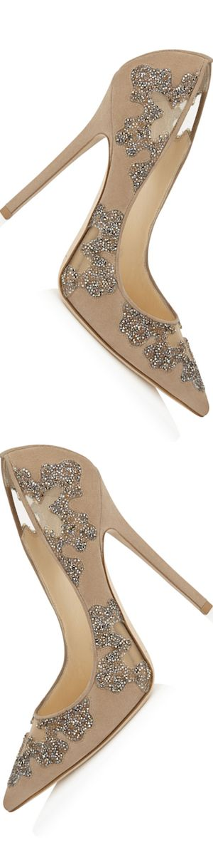 """Jimmy Choo """"Karmel"""" 120 Nude Suede and Mesh with Crystal Pumps 