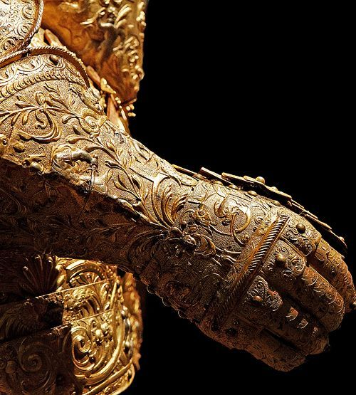 themagicfarawayttree:  The Golden Gauntlet, Henri III of France's armour (details), c.1550