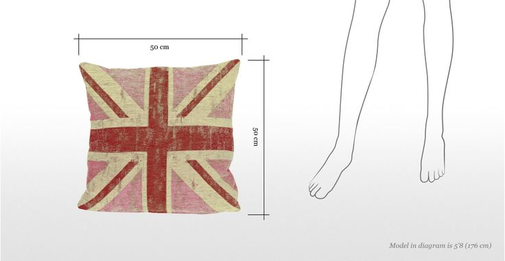 Cuscino quadrato Jack 50 x 50cm, con Union Jack rosa | made.com