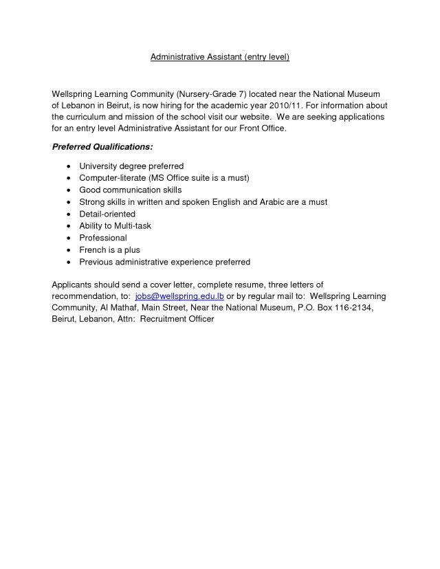 25 Office Assistant Cover Letter Sample For Administrative Job Zaxatk