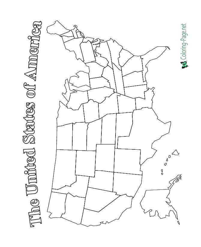 Usa Map 4th Of July Coloring Pages United States Map Printable United States Map World Map Coloring Page