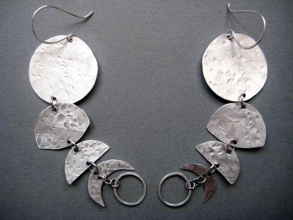 Howl- Moon Phase Hammered Metal Dangle Long Earrings- Moon Jewelry