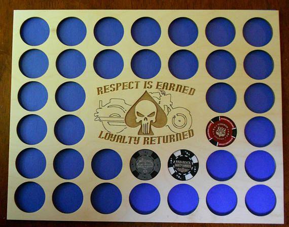 Custom Poker Chip Frame Display Insert Punisher's Skull