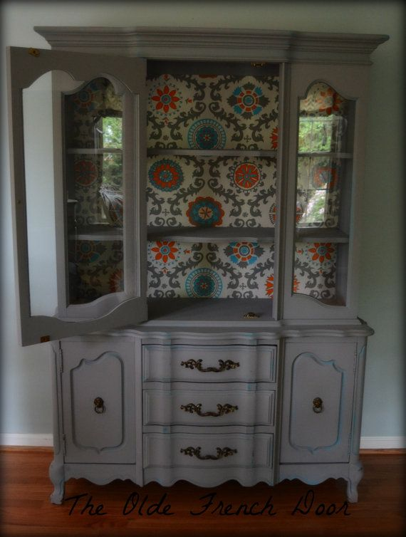 Vintage French Provincial China Hutch Cabinet Hand Painted The Inside Back Was Lined With A