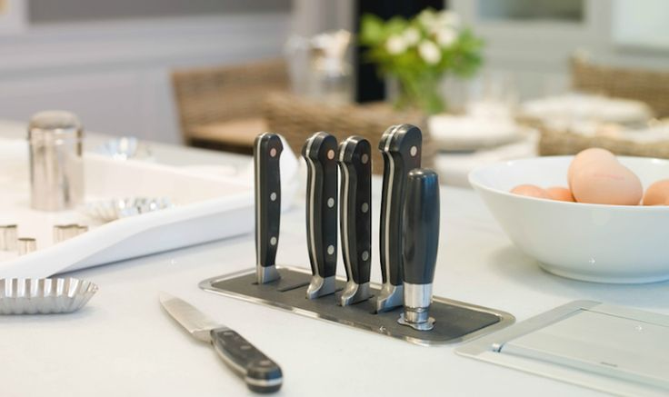 built-in knife block in kitchen island - WANT