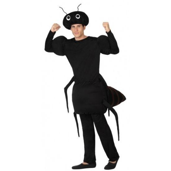 Mieren kostuum voor volwassenen. Zwarte mier kostuum inclusief mieren hoed. Materiaal: 100% polyester.
