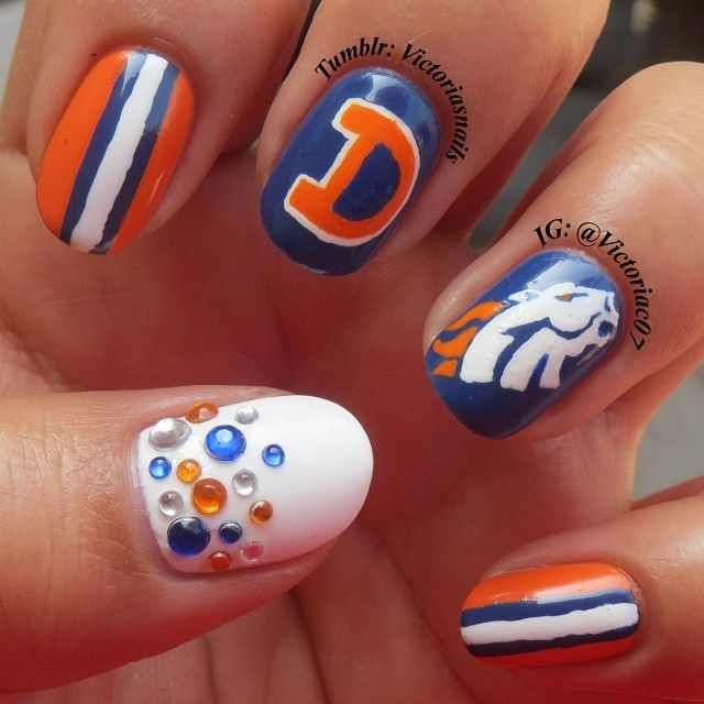 Don't think I'd ever do it but this is pretty bad ass - Denver Broncos by victoriac07 #nail #nails #nailart